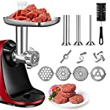 Metal Food Grinder Attachment for AMZCHEF Slow Masticating Juicer, Meat Grinder Attachment Included 3 Sausage Stuffer Tubes & & A Holder,4 Grinding Plates,2 Grinding Blades,Cleaning Brush