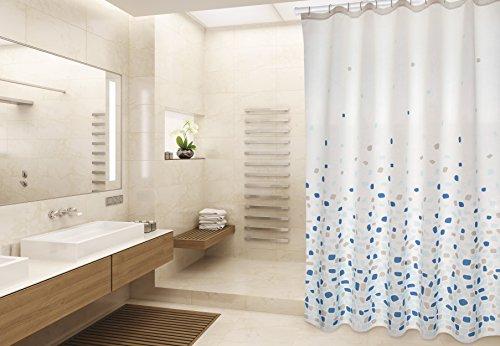 """MSV Cotexsa by Premium Anti-Schimmel Textil Duschvorhang - Anti-Bakteriell, waschbar, 100% wasserdicht, mit 12 Duschvorhangringen - Polyester, """"Brest"""" Blau 180x200cm – Made in Spain"""