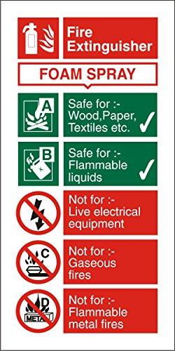 Seco Foam Spray Brandblusser Sign, 100mm x 200mm - 1mm Semi Rigid Plastic