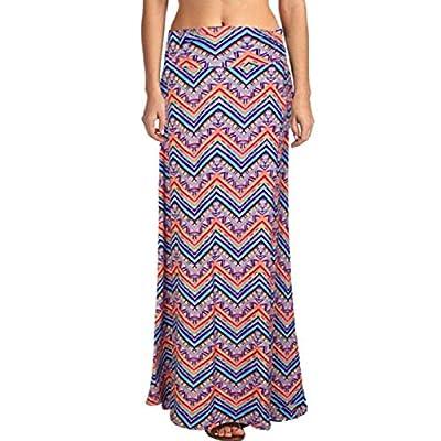 Lookatool Women's Poly Span Floral Prints Maxi Skirt