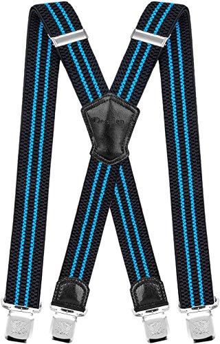 Decalen Hosenträger für Herren Breit 4 cm mit sehr Starken 4 Metall Clip Lang Einheitsgröße für Männer und Damen Einstellbar und Elastisch X Style (Schwarz Blau)