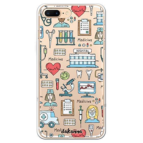 dakanna Funda para [iPhone 7 Plus - 8 Plus] Dibujo: Simbolos Medicina Enfermera Ambulancia Corazón Hospital, Carcasa de Gel Silicona Flexible [Fondo Transparente]