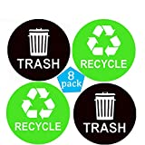 Recycle Sticker Sign Trash Decal Bin Label 8 Pack 4'x4'-Waterproof Organize&Coordinate Garbage Waste from Recycling-Great for Metal Aluminum Steel or Plastic Trash Cans-Indoor&Outdoor
