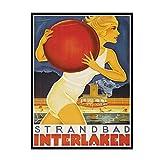 HJZBJZ Schweiz Bern Reiseplakate Strandbad Interlaken