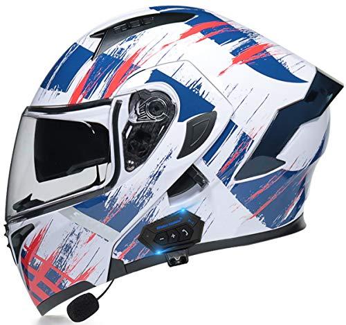 STRTG Motorradhelm Helm Motorrad mit Bluetooth Headset Klapphelm mit Doppelvisier mit Eingebautem Mikrofon für Automatische Reaktion für Frauen Männer Erwachsene, ECE-Zertifizierung H,XXL