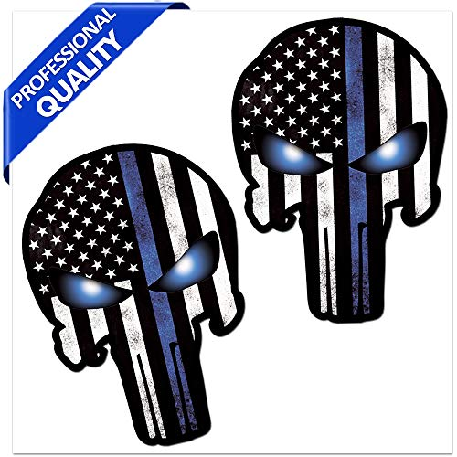 Skino 2 x Vinyl Decal Zelfklevende Stickers Punisher Schedel Blauw USA Vlag Decoratie Accessoires Auto Van Bumper Window Deur PC Tablet Laptop Auto Moto Motorhelm Bike Truck Racing Tuning B 24