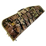 FieldTeq Range Master Soft Sided Tactical Carbine Gun Case - Shoulder Strap Sling Performance Gear with Five Magazine Pouches for Hunting Shooting Range Sports Storage (Multi Cam, 42')