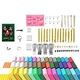 Shunfaji - Pasta de polímero de 24 / 32 / 60 colores seguros y no tóxicos para pasta de polímero, manualidades con herramientas y accesorios, el mejor regalo para los niños (60 colores)