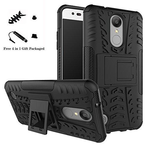 LiuShan LG K8 2017 Hülle, Dual Layer Hybrid Handyhülle Drop Resistance Handys Schutz Hülle mit Ständer für LG Aristo / LV3 / MS210 / K8 2017 Smartphone (mit 4in1 Geschenk verpackt),Schwarz