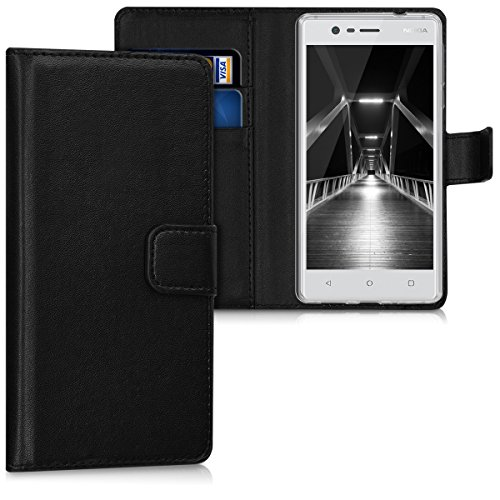 kwmobile Nokia 3 Hülle - Kunstleder Wallet Case für Nokia 3 mit Kartenfächern & Stand Handytasche Book Schwarz - Handyhüllen für Handys (Bücher, Nokia, 3, schwarz)