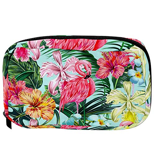 TIZORAX Cosmetic Bags Flamingo and Tropical Plants Handy Toiletry Travel Bag Organizer Makeup Pouch for Women Girls