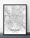 NBHHDH Impression sur Toile,Nordic France Toulouse City Imprimer Noir Blanc Simple Mot Poster Toile Photo Murale pour Cafe Vivant Décoration Chambre d'enfants, Société