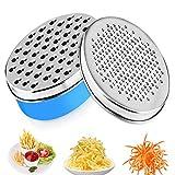 Rallador de verduras multifuncional con rallador de queso con recipiente para pelar y rallar verduras, frutas, queso (Azul)