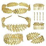 Thunaraz 10Pcs Greek Laurel Leaf Bracelet Armband Golden Crown Arm Cuff Bridal Jewelry Set Greek Goddess Headband Hair Comb Bridal Wedding Headpiece Hair Accessories