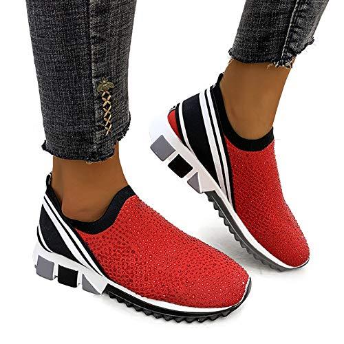 JXILY Zapatillas Deportivas De Moda De Las Señoras Summer Color Puro Zapatos Deportivos Al Aire Libre Correr Casual Transpirable Pie Bucal Soliento Zapatos Solteros Solteros Hombres Y Mujeres,Rojo,35