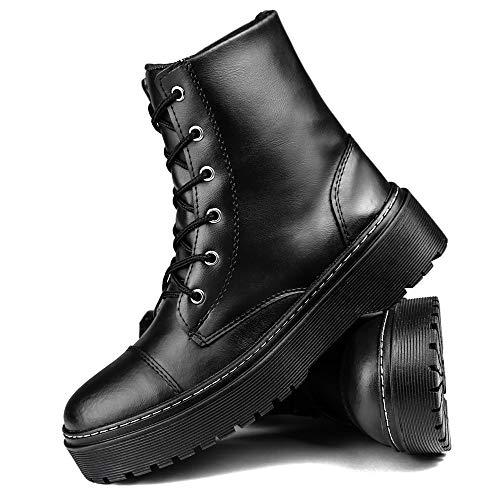 Bota Coturno Plataforma Tratorado Sapatofran Confortável Preta (38)
