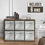 CAPHAUS 2-Cube/4-Cube/6-Cube Extra Thick Exterior Edge, Sturdy Room Organizer, Storage Divider, 2 x 1/2 x 2/2 x 3 Bookcase, w/Cube Storage Bins Options, Espresso or White