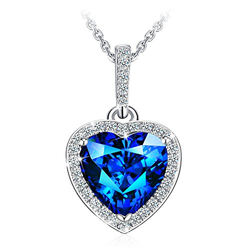 J.Rosée Necklace, 925 Sterling Silver 3A Cubic Zirconia Blue Heart Pendant Necklace Fine Jewelry for Women Best Gift for mother wife girlfriend,18
