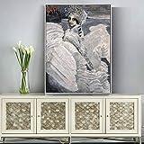 QWESFX Pinturas Famosas Rusas s en la Pared de Swan Princess Wall Art Canvas Picture para la decoración de la Sala de Estar (Imprimir sin Marco) C 50x70CM