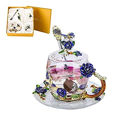 Lustrique Rosaria Tea Cup Set Lead-free Glass & Enamels Tea Cup, Coffee Mug Butterfly Flower Tea Cup Gift for Women Birthday Valentines Day Wedding (Short Tea Cup+Spoon+Cover Lid+Saucer) Blue