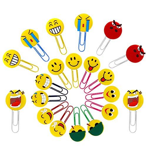 20 X Marcadores de libros lindos de Emoji, Bookmark de divertidos, marcador de emoticonos de novedad para niños, niñas, estudiante cumpleaños regalo partido suministra navidad pequeños juguetes