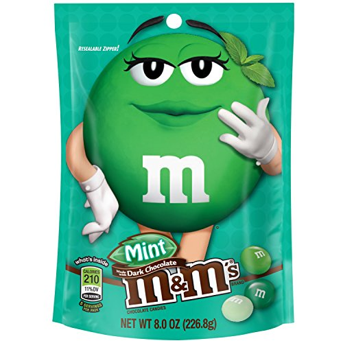 M&M's Mint Dark Chocolate Candy 8-Ounce Bag (Pack of 6)