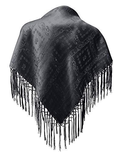 Seidentuch Dirndl-Trachtentuch Tuch 75 x 75cm Dirndltuch 100% Seide Fransentuch für Tracht Trachtenseidentuch mit Fransen Schultertuch Halstuch silk clouth beste Qualität, Farbe:schwarz