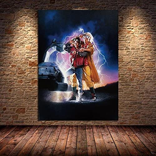 YYAYA.DS Quadro su Tela Ritorno al Futuro Film Pittura a Olio su Tela Poster e Stampe Immagini di Arte della Parete per Soggiorno Camera da Letto 60x90cm