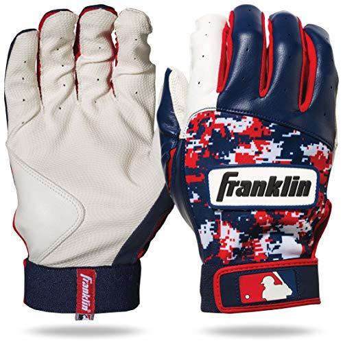 Franklin Sports MLB DIGITEK Guantes de bateo, MLB Digi-Camo Batting Gloves (Pair), White/Navy/Red