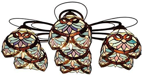 miwaimao Lámpara de techo con 7 luces de 30 pulgadas, estilo Tiffany, lámpara de techo para comedor, sala de estar, dormitorio