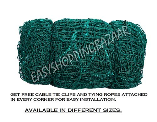 EASYSHOPPINGBAZAAR Anti Bird NET 6 X 10 Foot (60 SQ FT) Green in Color(Cable TIE Clips and Corner Ropes Include)