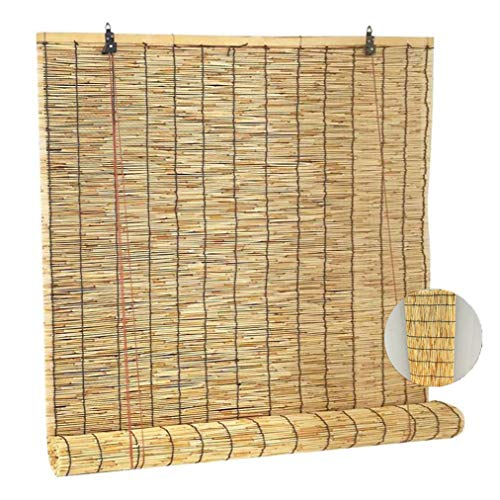 Takeashi Cortina de lámina Natural, persianas enrollables para Ventanas, Cortinas de bambú, Estores de Bambú Tejidas a Mano, para sombreado Exterior/Interior, Decoraciones para el hoga