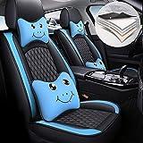 Maidao 5 Cubreasientos de Asientos de Automóvil para Chevy Malibu Hybrid 2007-2010 Comodidad (con Lindo reposacabezas y reposacabezas) Cuero Fundas Asiento Delanteros y Traseros Azul Negro