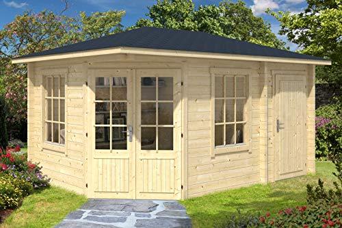 Alpholz 5-Eck Gartenhaus Rhein aus Massiv-Holz | Gerätehaus mit 40 mm Wandstärke | Garten Holzhaus inklusive Montagematerial | Geräteschuppen Größe: 440 x 300 cm