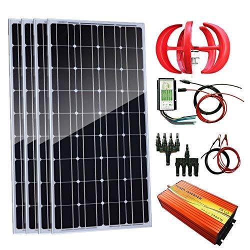 Auecor 700 W Wind-Solar-Generator-Set: 300 W Windturbinen-Generator & 4 Stück 100 W Solarpaneele + Peak 3000 W Inverter & Hybrid-Controller + Zubehör