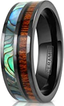King's Cross Hi-Tech 8mm Super-Light Polished Gunmetal Black Flat Ceramic Band Ring w/Iridescent Abalone Shell & Koa Wood Inlays feat. Comfort Fit Inner Band.