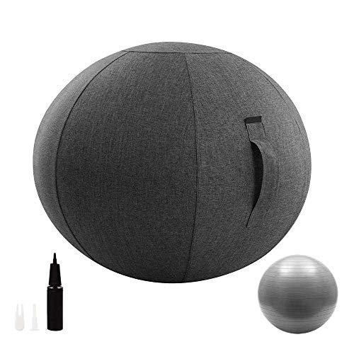 Chaise avec housse et pompe, ballon d'exercice ergonomique pour le bureau et la maison, ballon de...