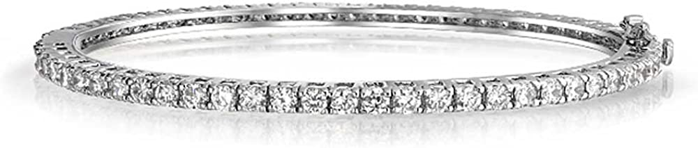 Fashion Bridal Cubic Zirconia Marquise AAA CZ Bezel Set Eternity Stackable Bangle Bracelet for Women for Prom Pageant