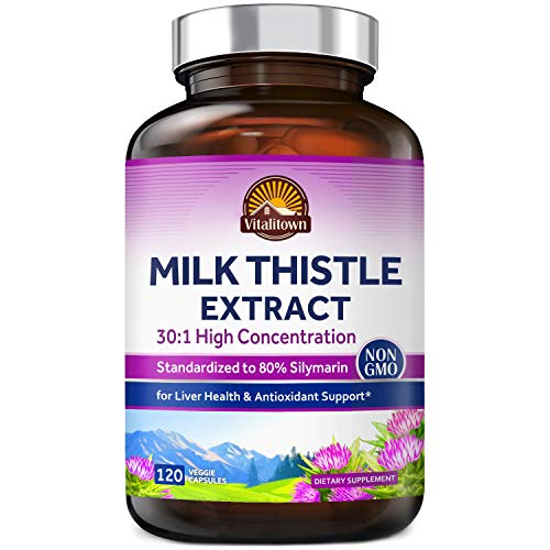 Vitalitown Organic Milk Thistle | 600 mg Seed Extract, 30:1 High Concentration, Equivalent to 18,000 mg Silymarin Marianum | Liver Support, Detox & Cleanse | Vegan, Non-GMO, No Soy, Gluten & Dairy
