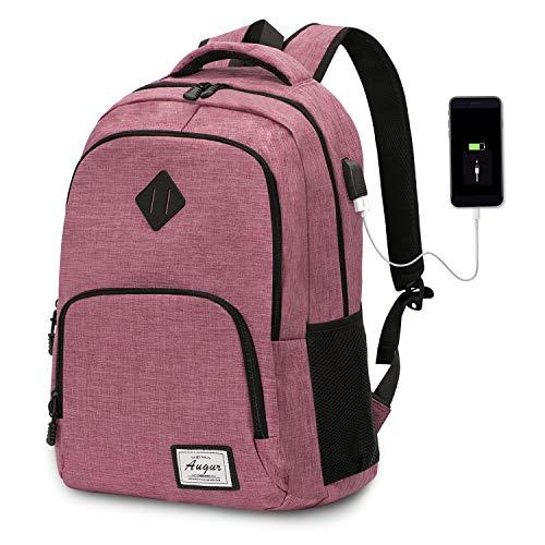 Laptop Rucksack Wasserdicht Schulrucksack Reiserucksack Damen Herren Daypacks Rucksack Grosse Kapazität Multifunktionsrucksack Diebstahlsicherung Tagesrucksack für Business 15,6 Zoll, 20-35L (Rosa)