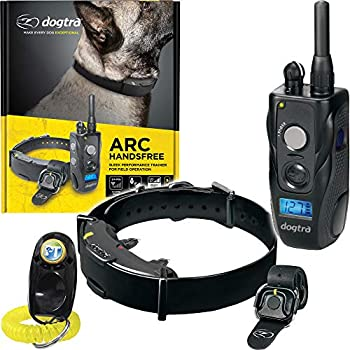 Dogtra ARC HANDSFREE Remote Training Dog Collar - 3/4 Mile Range Hands free Remote Controller Waterproof Rechargeable 127 Training Levels Vibration - includes PetsTEK Dog Training Clicker