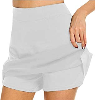 desolateness Womens Solid Culottes with Shorts Skirts High Waist Mini Skirt