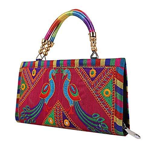S A Gifts Women's Handmade Designer Rajasthani Printed Clutch Bag (Pink)