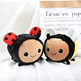 Fuzzy Bumblebee Ladybug Insecto de Peluche Juguete de Peluche Abeja Mariquita muñeca Suave Juguetes para niños cumpleaños niño Laimi (Color : Abeja, Size : 20cm)