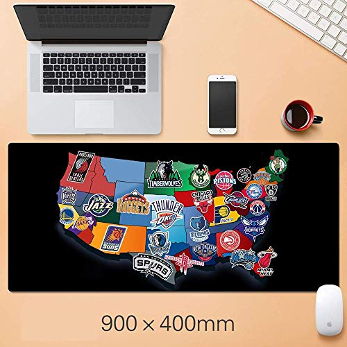 Tappetino mouse gaming tappetino mouse xxl Basket NBA Mousepad oversize Warriors Lakers Curry Corby Jordan Irving James Durant Mat, R (Color : E)