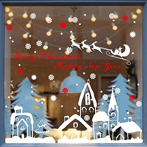 heekpek Weihnachten Aufkleber Schneeflocken Fensterdeko Elch Schnee Haus Kleinstadt Fenstersticker Weihnachtsdeko DIY PVC Aufkleber für Türen Schaufenster Winter Dekoration