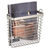 mDesign Metal Wire Farmhouse Wall Mount Magazine Holder, Home Storage Organizer - Space Saving Rack for Magazines, Books, Newspapers, Tablets in Mudroom, Bathroom, Office - Satin