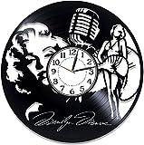 Reloj de vinilo Actriz de 12 pulgadas Ideas de cumpleaños Marilyn Monroe Reloj de pared con registro de vinilo Reloj de mujer hecho a mano rubio Bombshell Marilyn Monroe Decoración original del hogar