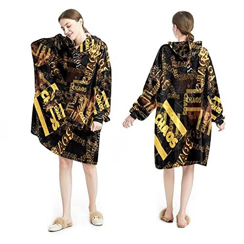 LENNEL Manta Sudadera con capucha Suave bata con capucha Mantas cálidas Sudadera Talla única para todos los adultos Pullover Patrón en inglés