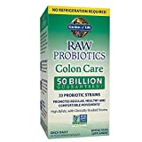 Garden of Life RAW Probiotics Colon Care Shelf Stable - 50 Billion CFU Guaranteed through Expiration - Once Daily - Certified Non-GMO & Gluten Free - No Refrigeration - 30 Vegetarian Capsules